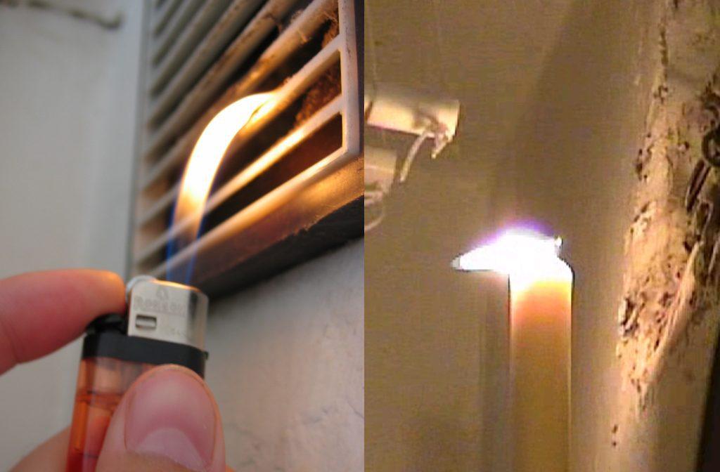 Поднести к вентканалу спичку, зажигалку или свечу