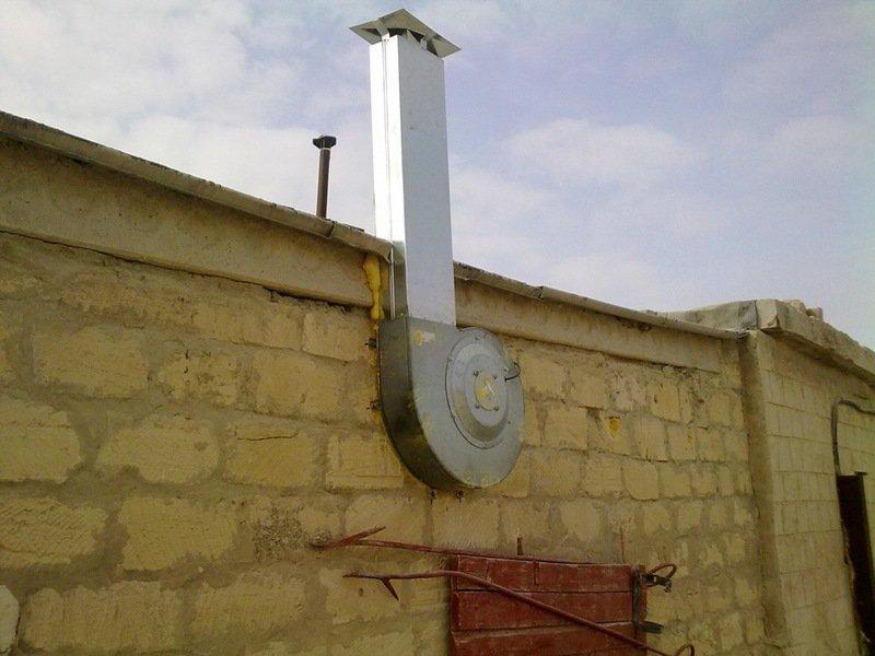 Вариант устройства принудительной вентиляции в гараже