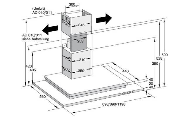 Схема монтажа встраиваемой вытяжки