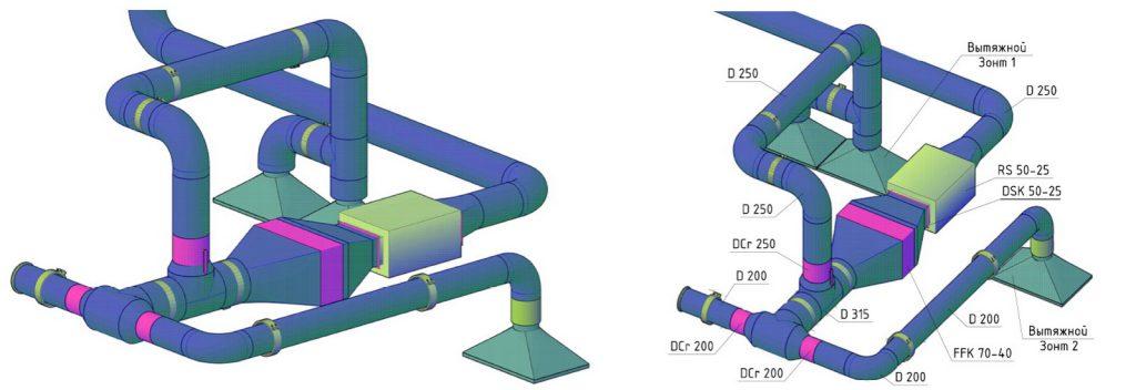Пример конструктивного решения промышленной вентиляции
