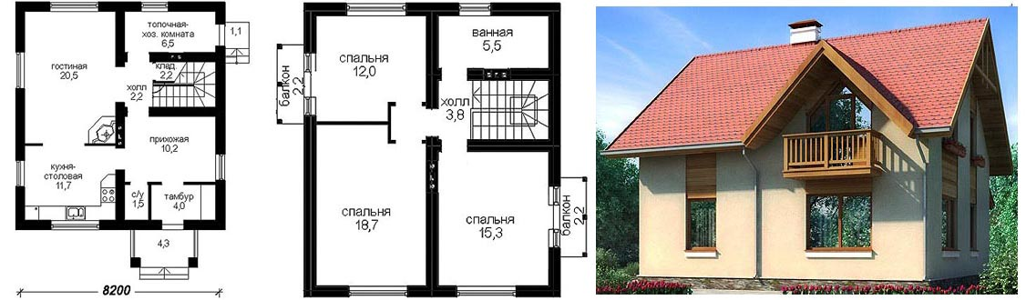 Дом с мансардой 8х10 из газобетона