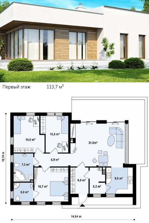 Одноэтажный коттедж с плоской односкатной крышей