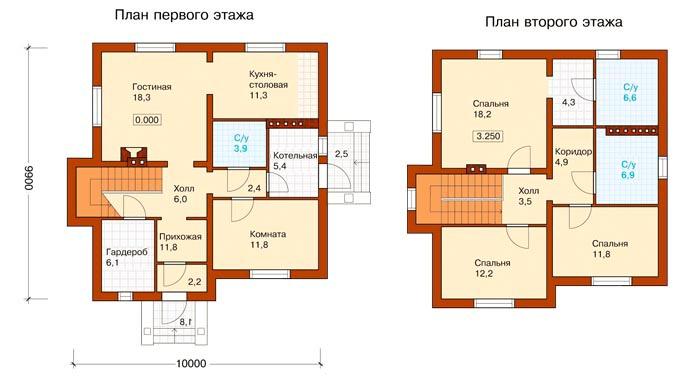 План частного дома 10х10