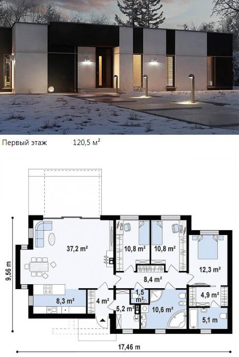 Современный коттедж с плоской крышей